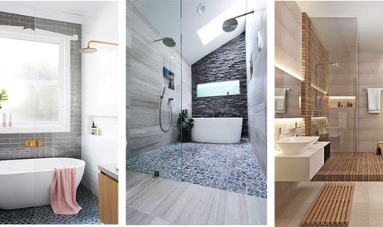 multiple different modern bathrooms